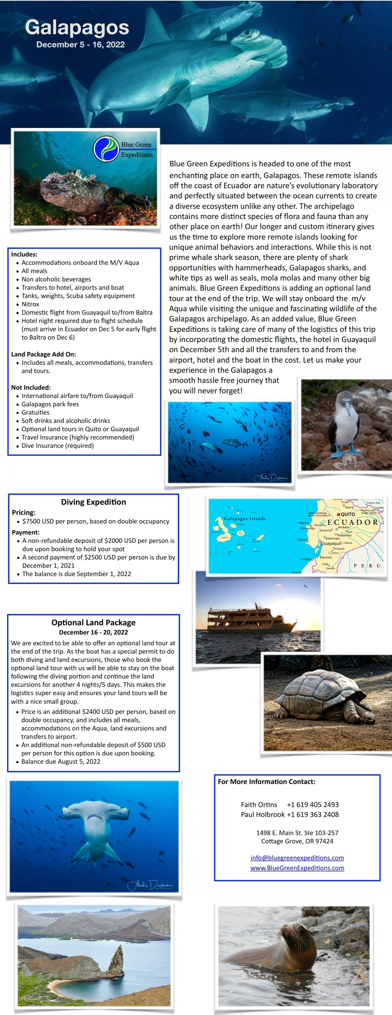 Galapagos, December 5 - 16, 2022, trip itinerary and pricing. Same information is available in the expedition flyer PDF.