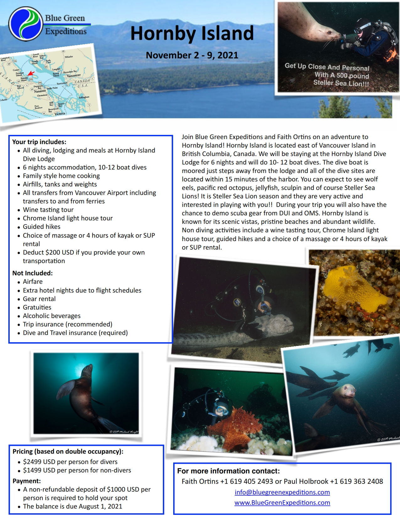 Hornby Island, November 2-9, 2021, trip itinerary and pricing. Same information is available in the expedition flyer PDF.