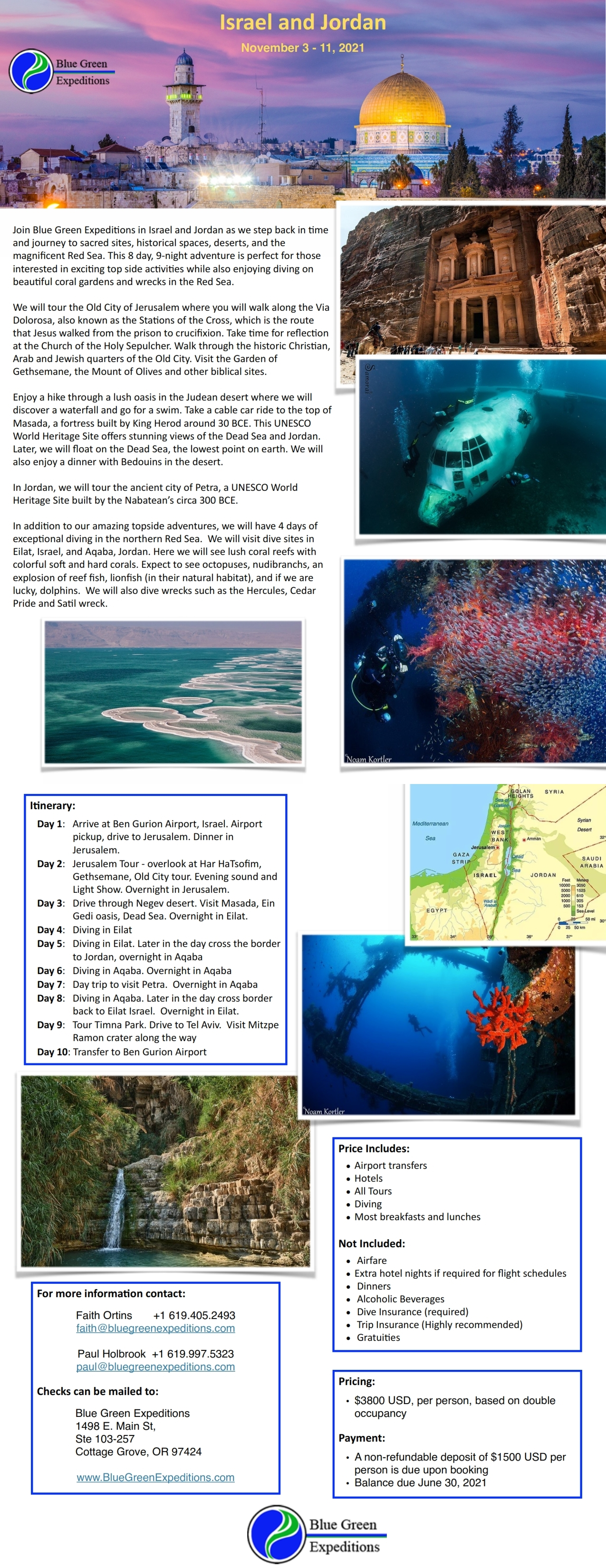 Israel and Jordan expedition, November 3 - 11, 2021, trip itinerary and pricing. Same information is available in the expedition flyer PDF.