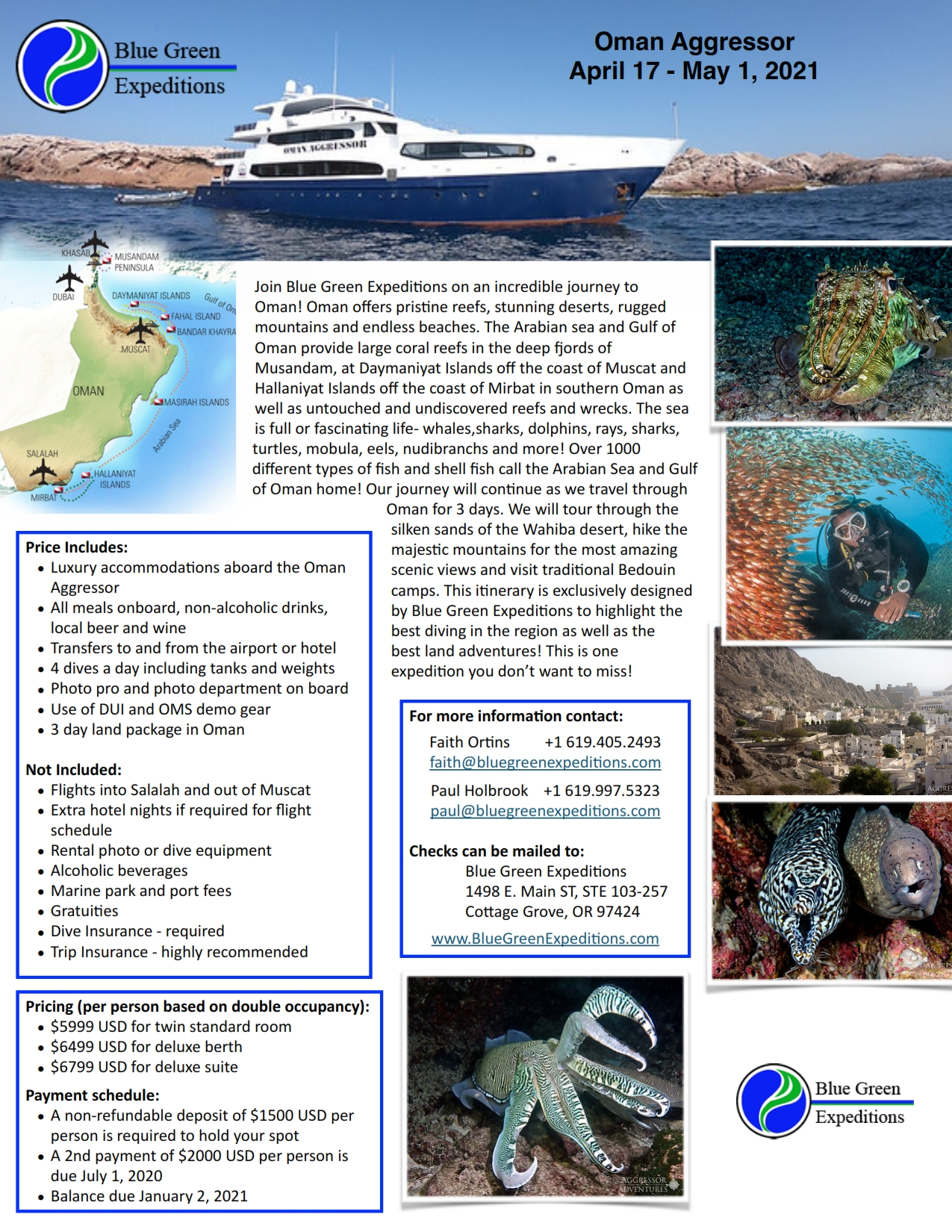 Oman Expedition, April 17 - May 1, 2021. Expedition description and pricing. PDF flyer contains the same information.