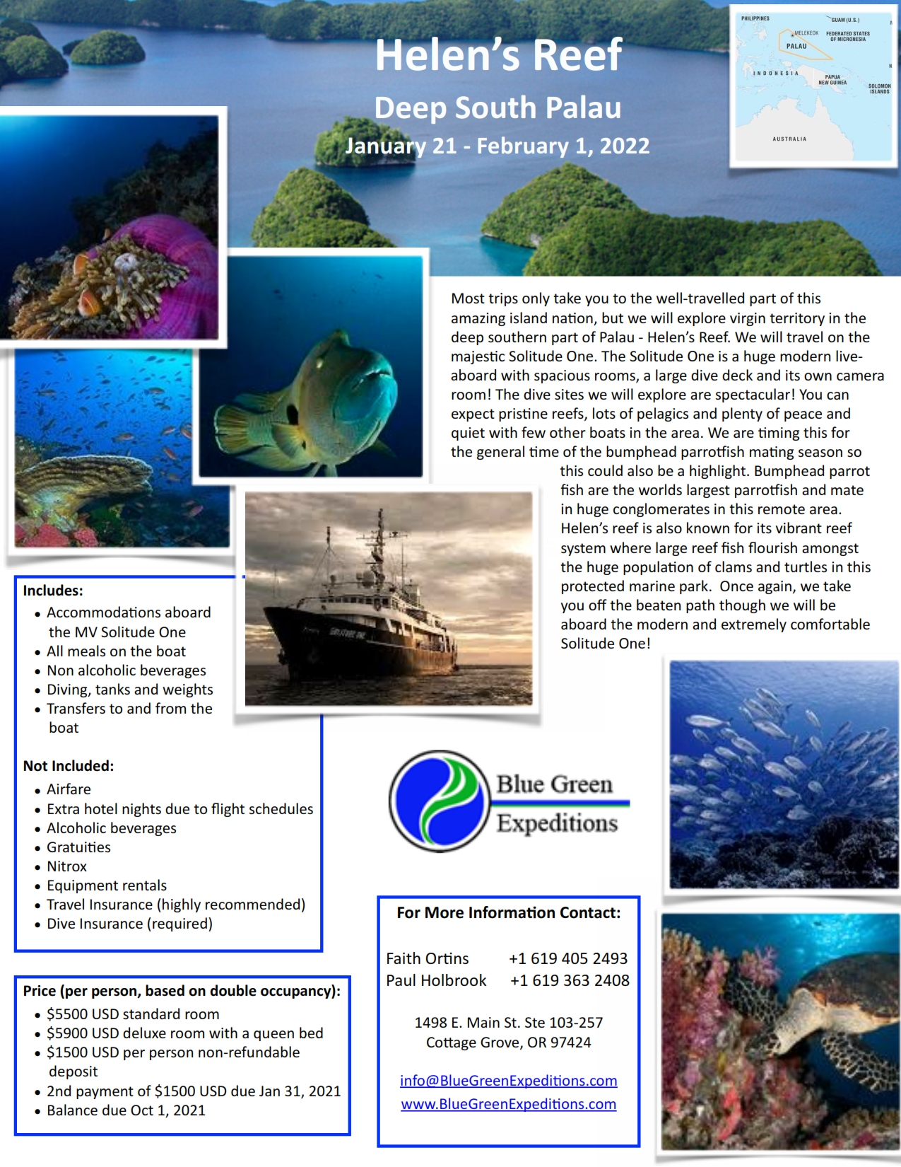 Palau Expedition, January 21 - February 1, 2022. Expedition description and pricing. PDF flyer contains the same information.