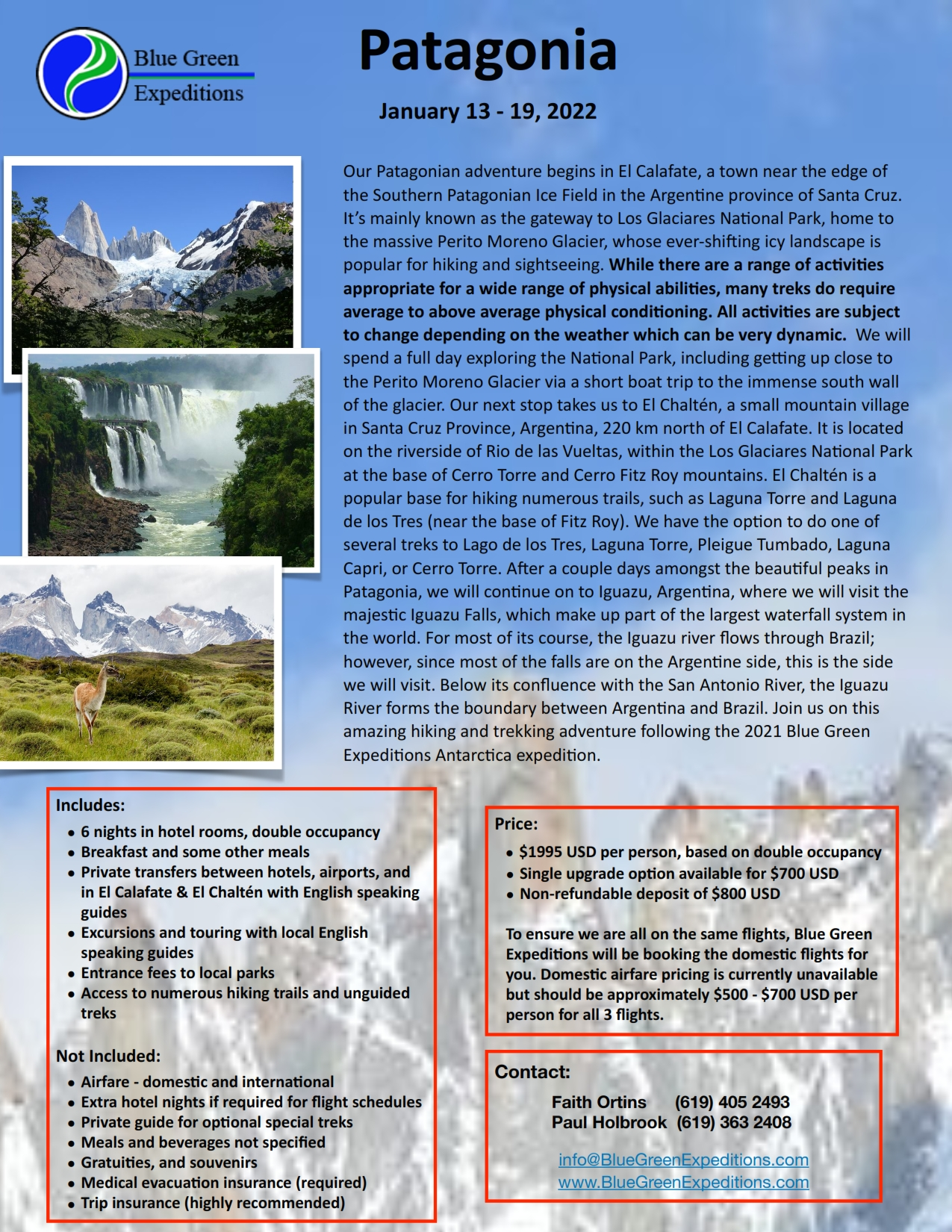 Patagonia Expedition, January 13 - 19, 2022. Expedition description and pricing. PDF flyer contains the same information.