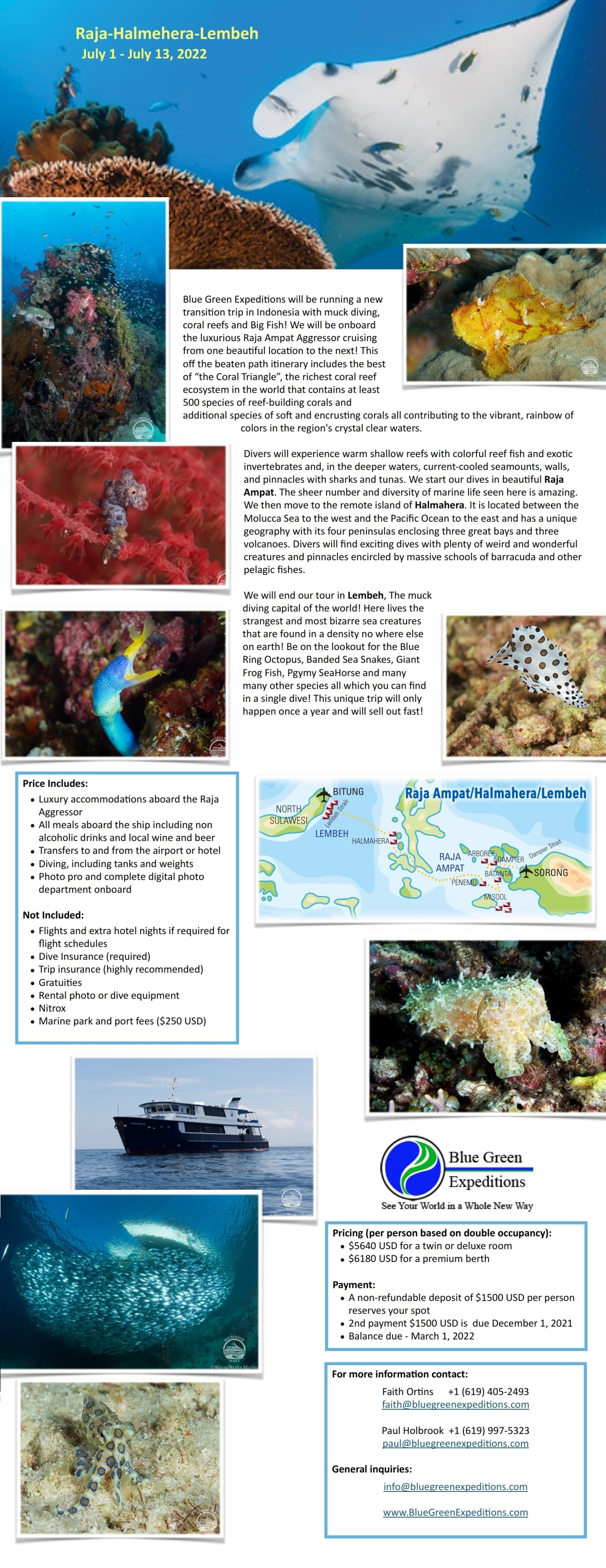 Raja - Halmehera - Lembeh expedition, July 1 - 13, 2022. Trip information and pricing. Flyer contains the same information.