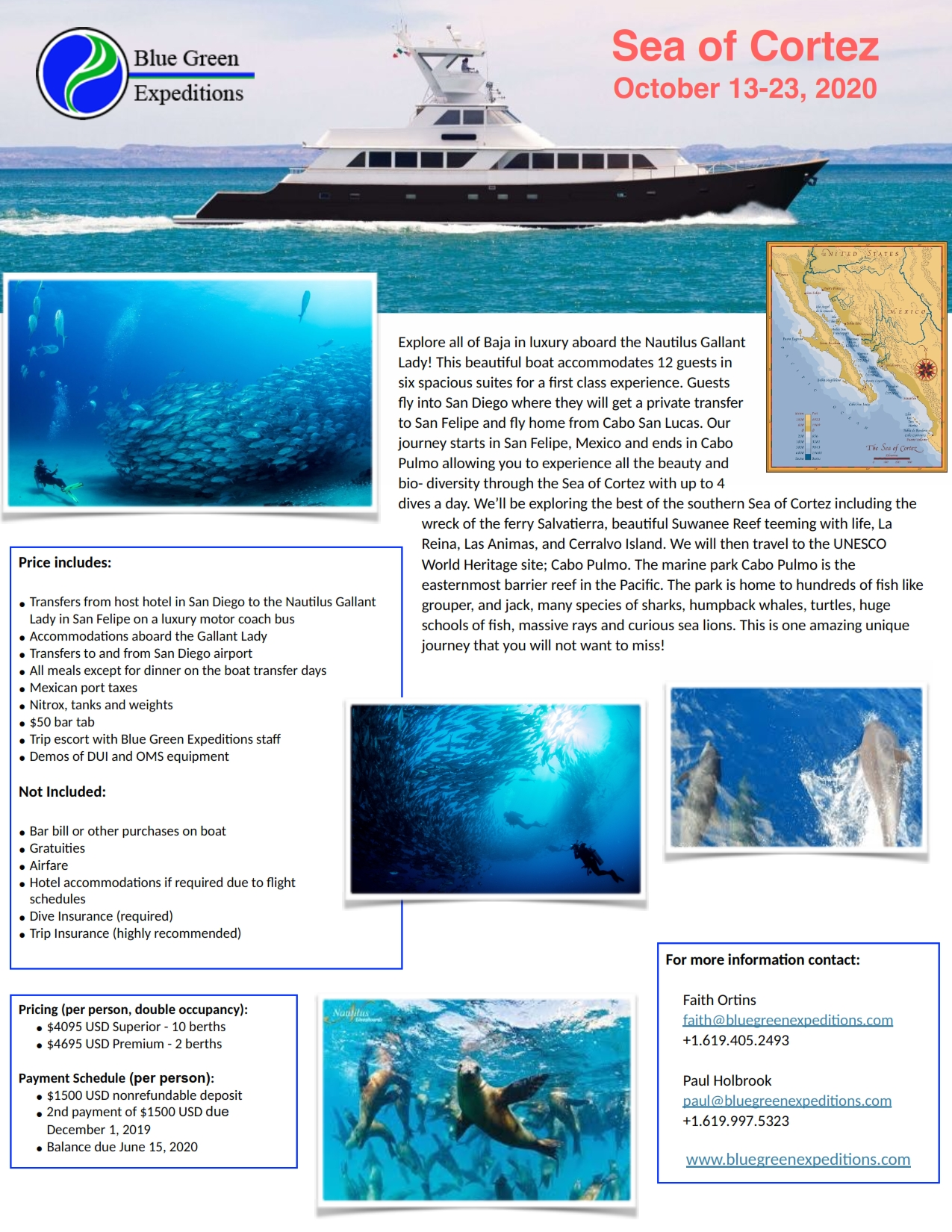 Sea of Cortez, October 13 - 23, 2020, expedition description and pricing. PDF flyer contains the same information.